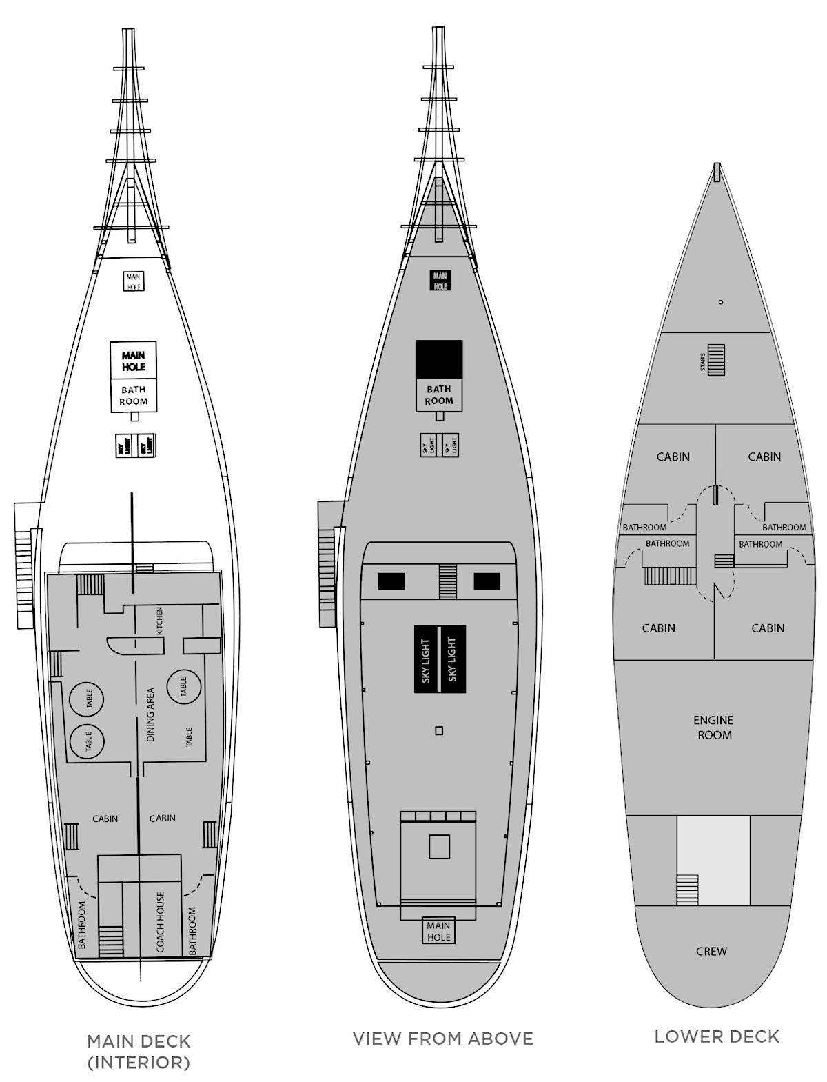 Traditional indonesian schooner deckplan