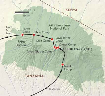 Lemosho crater route