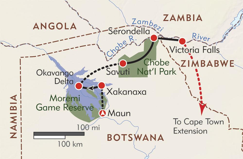 botswana wildlife safari itinerary map wilderness travel