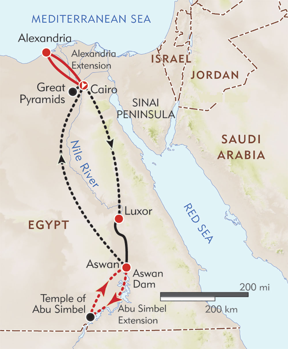Egypt Private Journey route-map