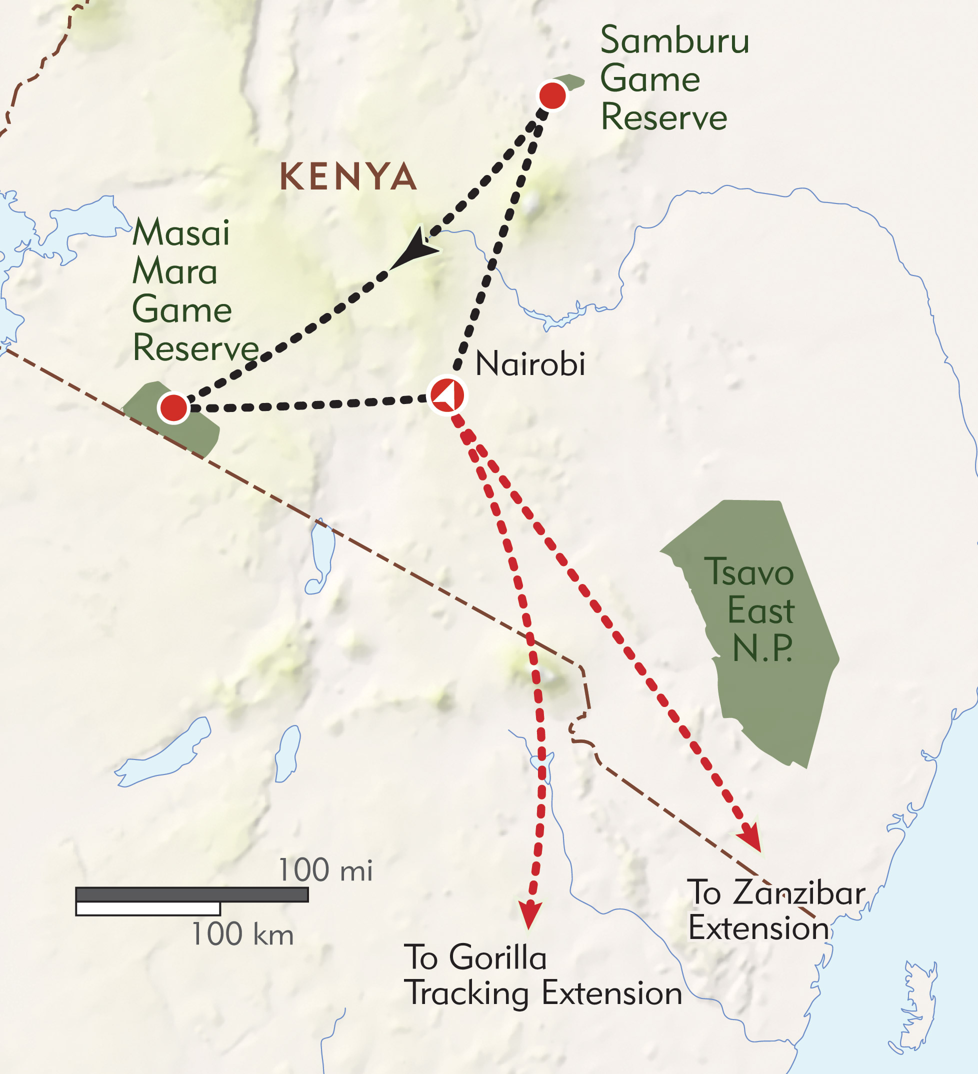 Kenya Private Journey route-map