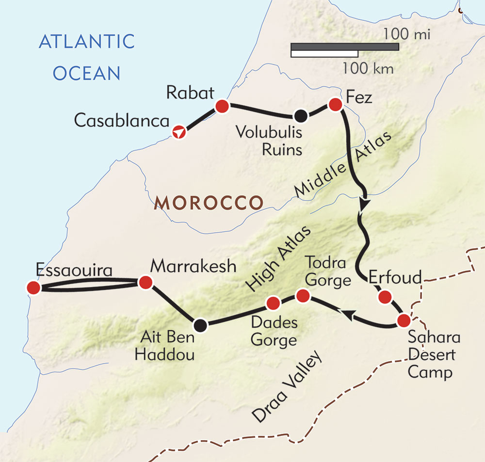Morocco: Camels to Casbahs route-map