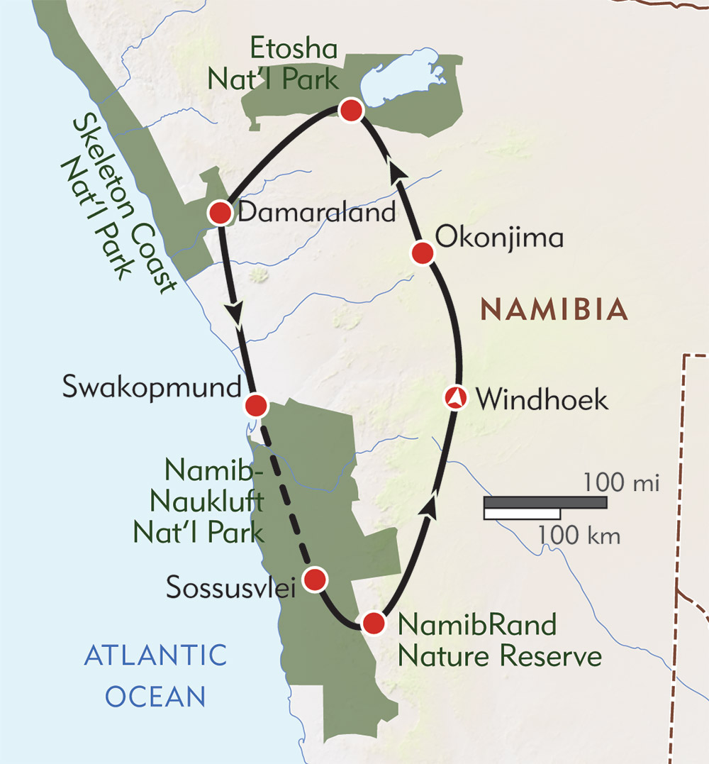 Namibia Expedition route-map