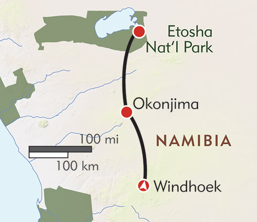 Namibia: A Vision for Wildlife route-map