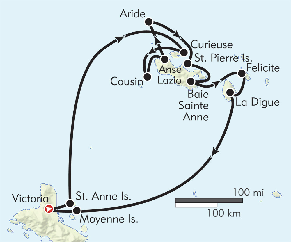 Seychelles Cruise in the Garden of Eden route-map