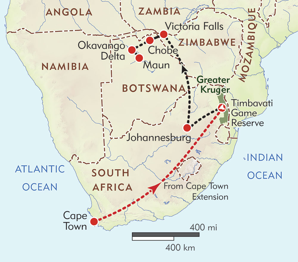 Southern Africa Wildlife Safari route-map