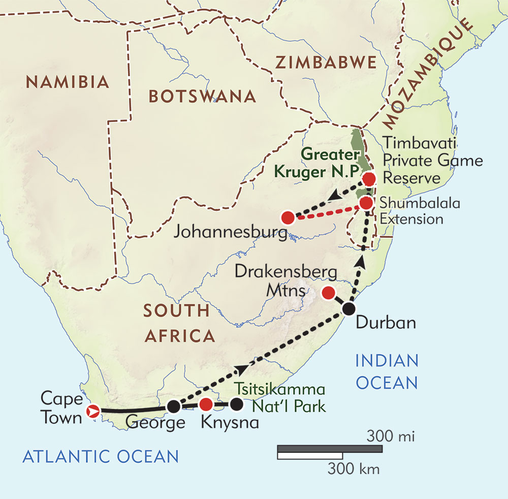 South Africa Map Game.Great Hikes And Game Parks Of South Africa Itinerary Map