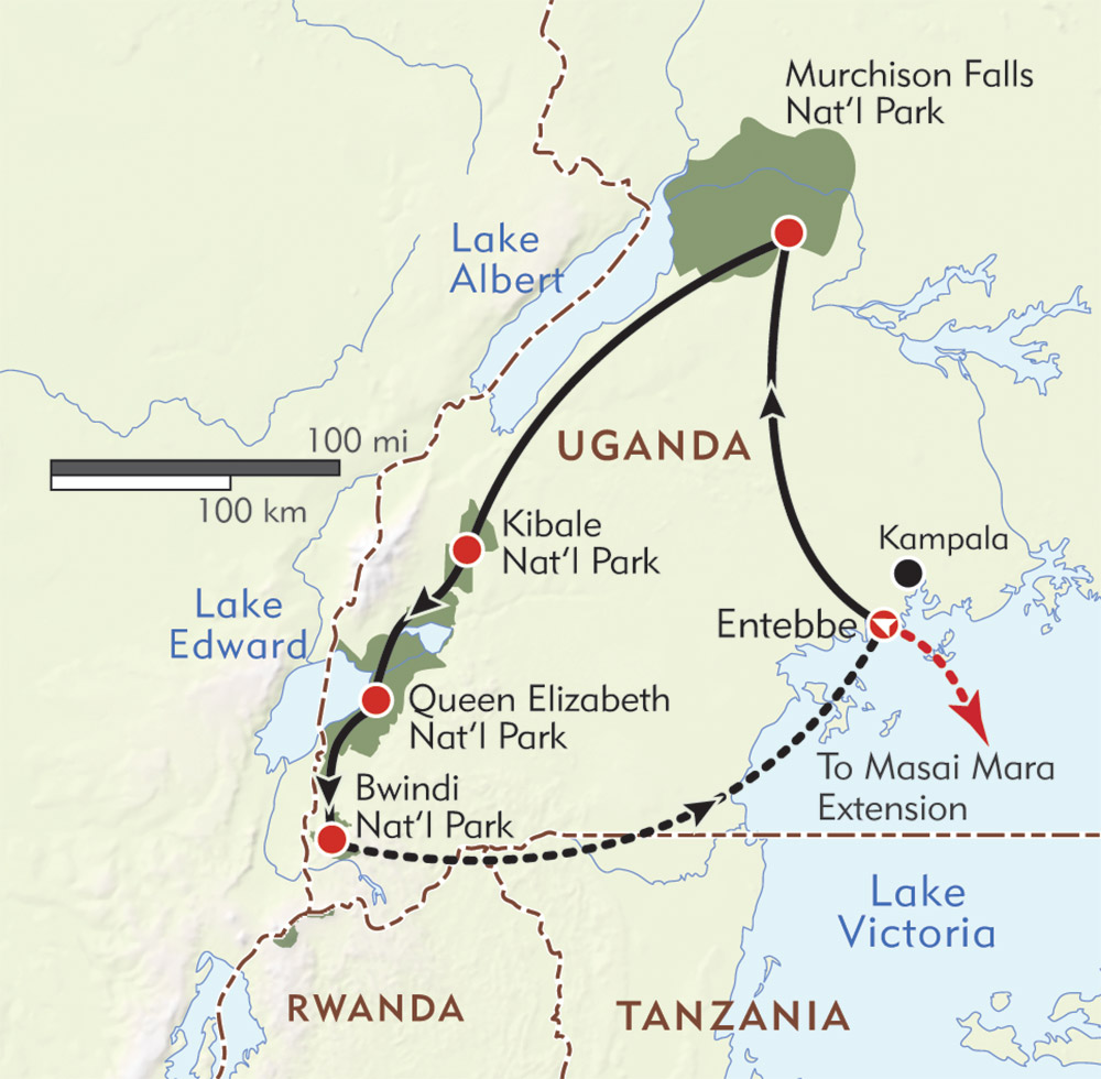 The Ultimate Uganda Safari route-map