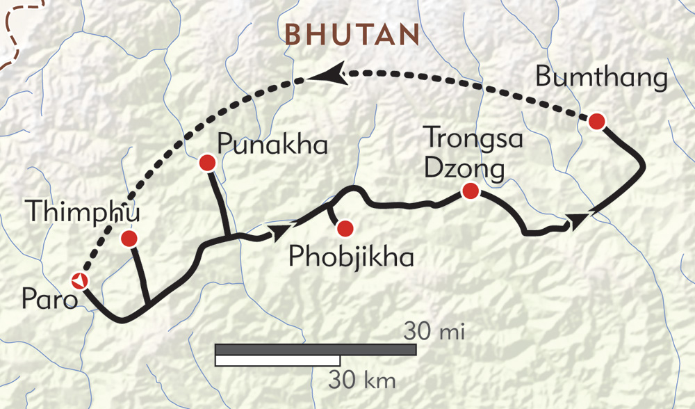 Hiker's Journey to Bhutan route-map