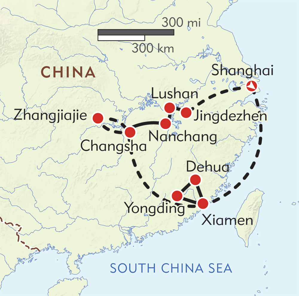 Journey to China's Southeast route-map