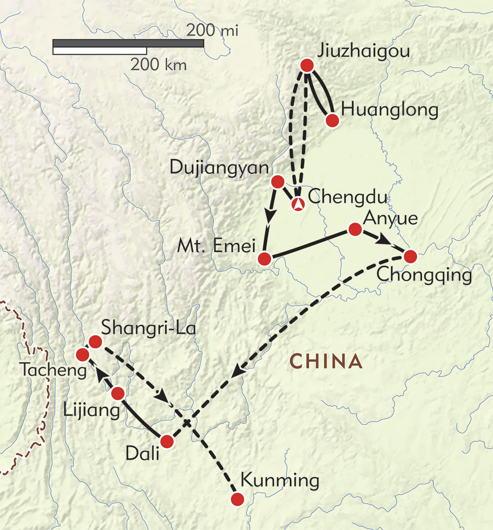 Hidden Treasures of Sichuan and Yunnan route-map