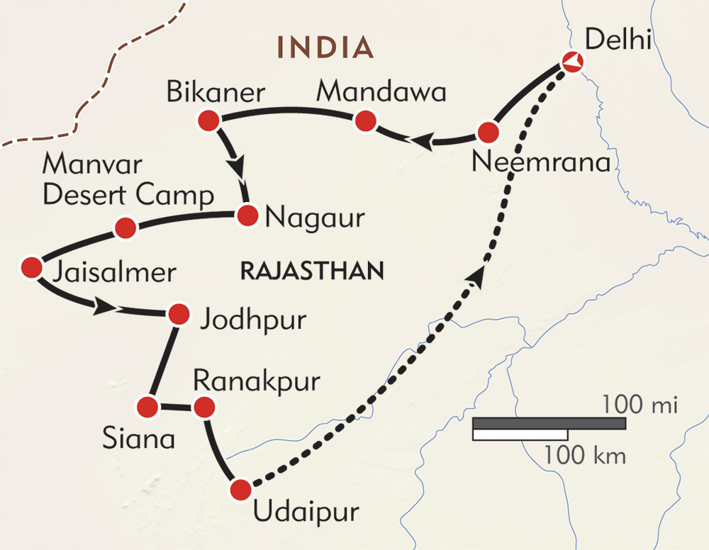 Hidden Rajasthan and the Holi Festival route-map