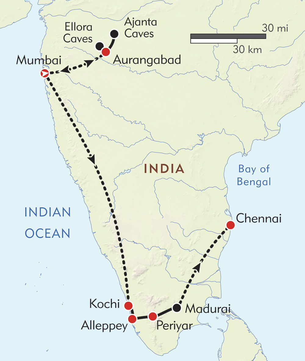 South India Private Journey route-map