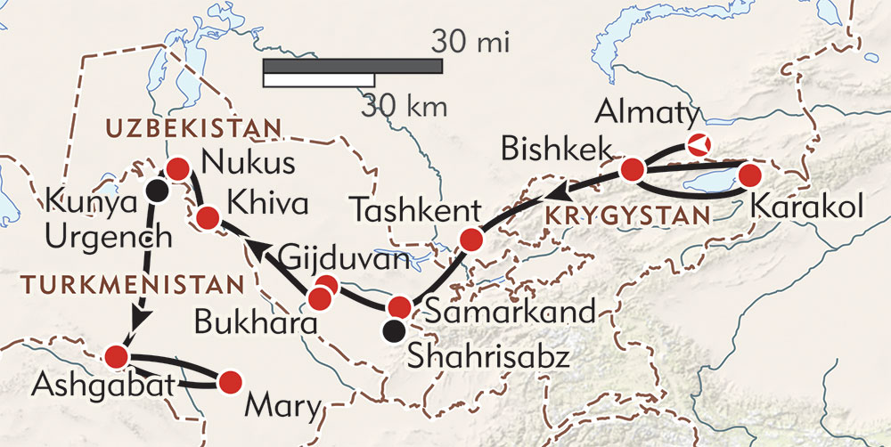 Central Asia Explorer route-map