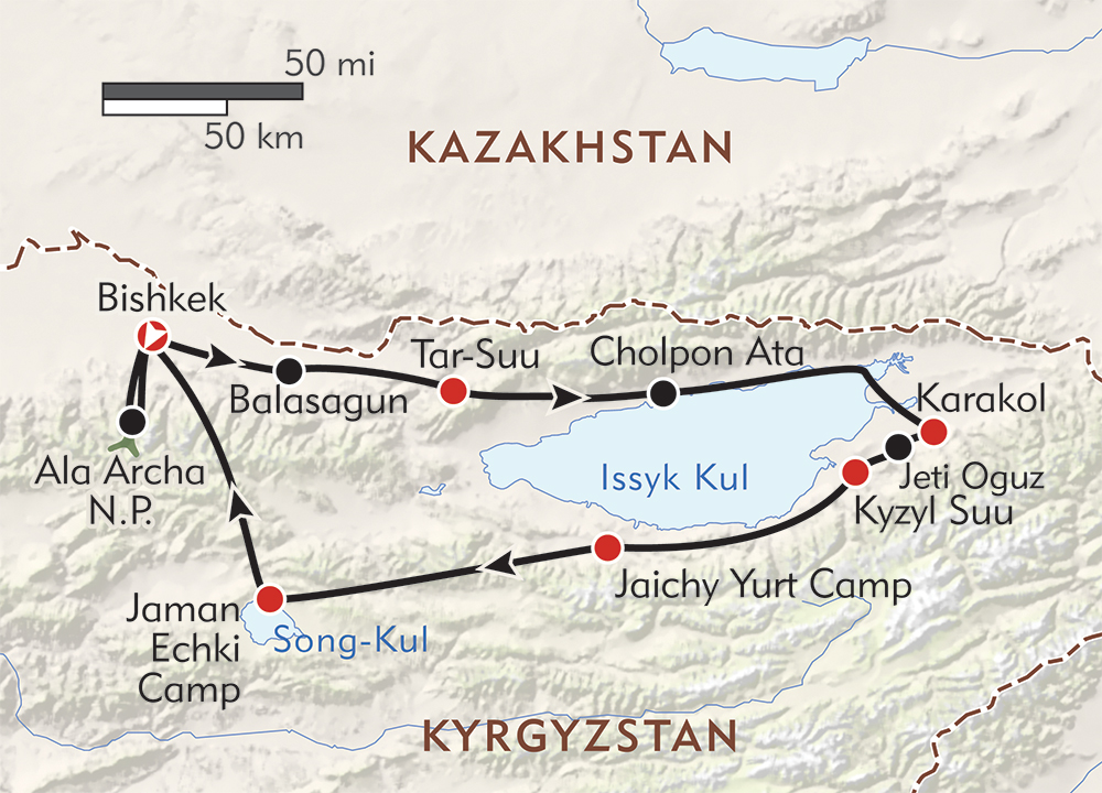 Kyrgyzstan: Hiking in the Celestial Mountains route-map