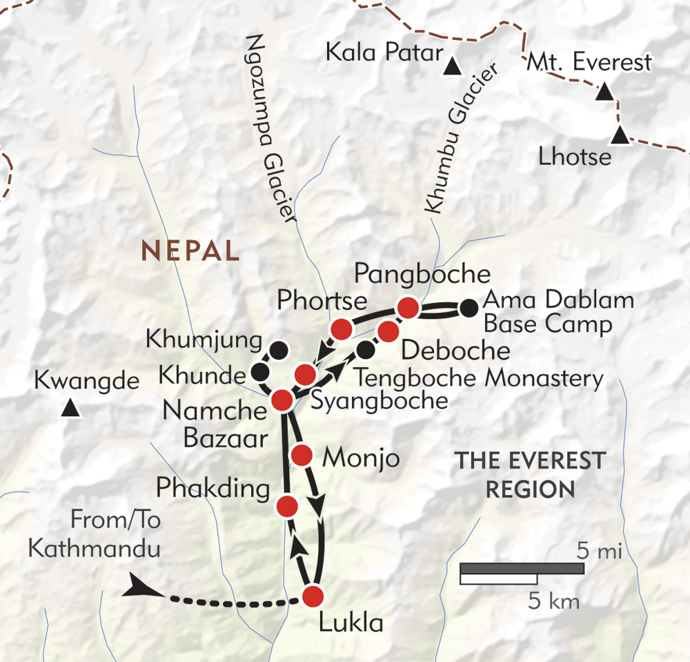 Everest Private Journey route-map