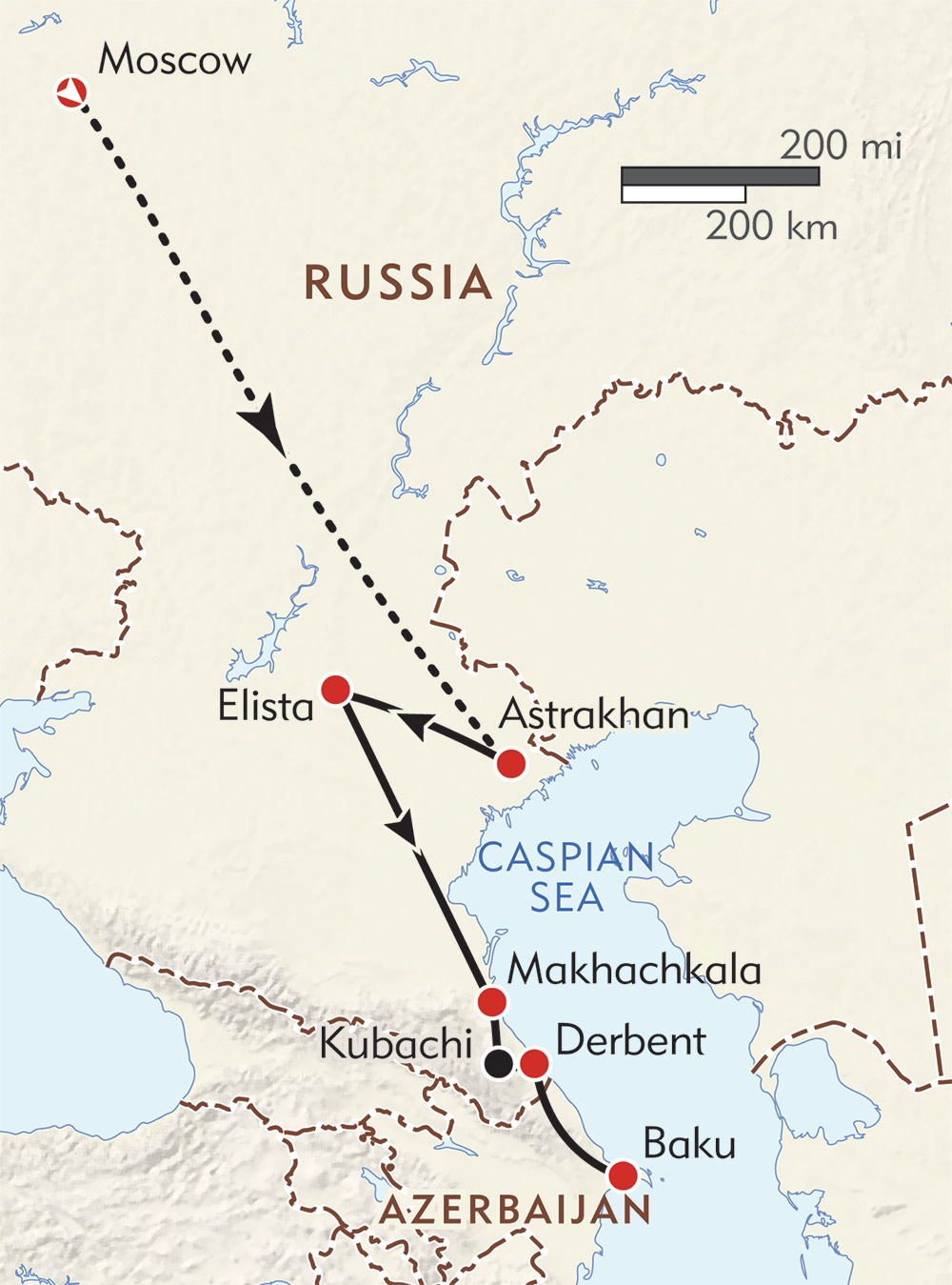 Caspian Explorer: Moscow to Azerbaijan route-map