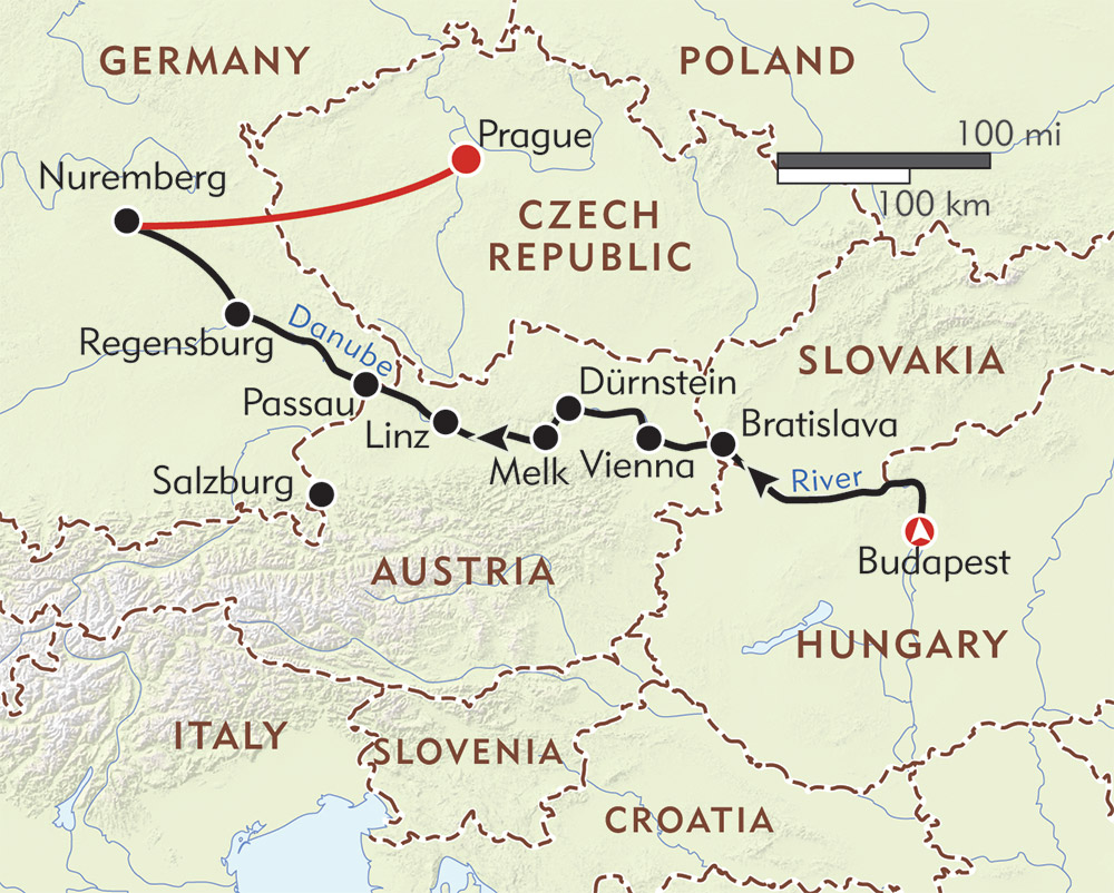Danube River Cruise Map on