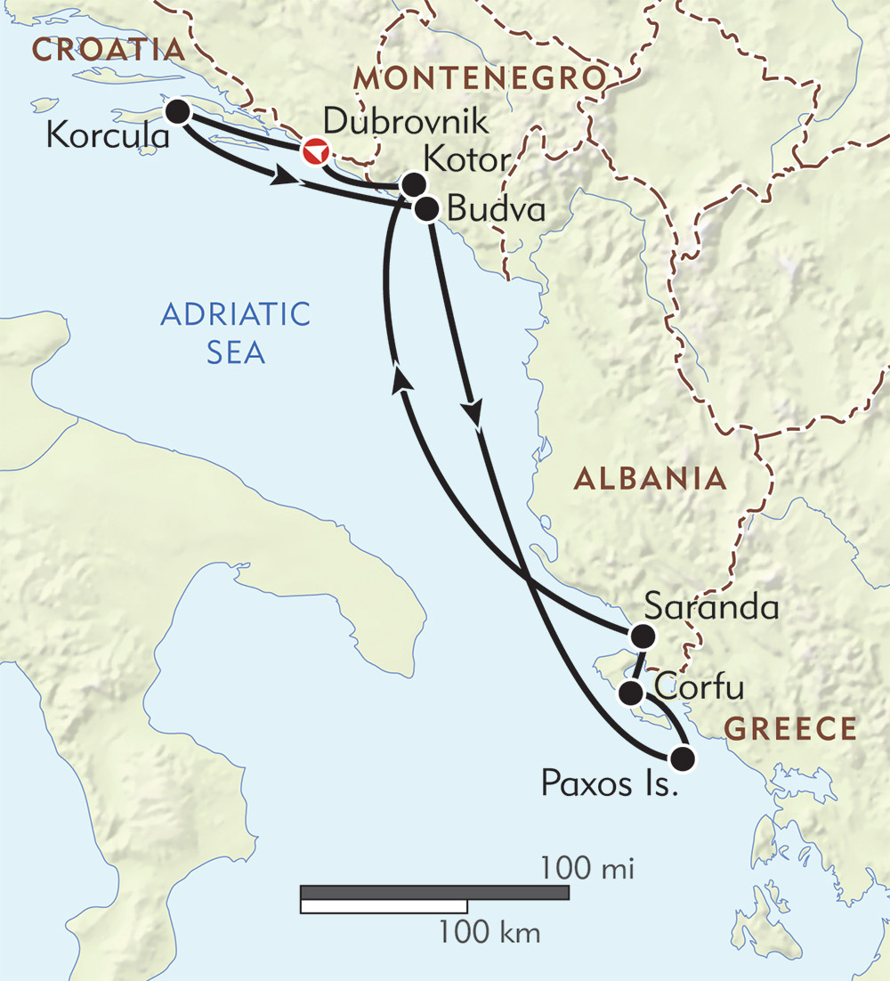 The Adriatic Odyssey route-map
