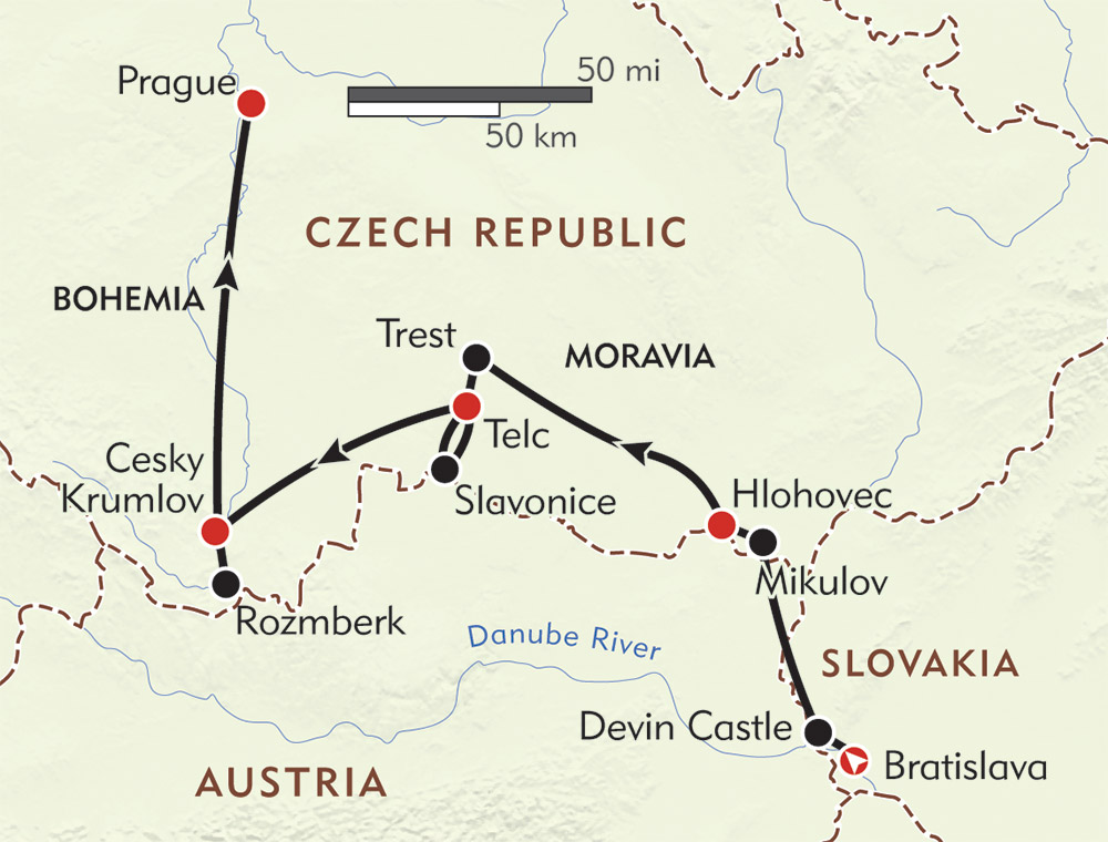 From Bratislava to Prague route-map