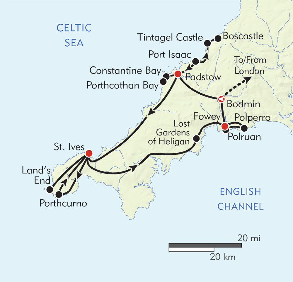 Hiking in Cornwall route-map