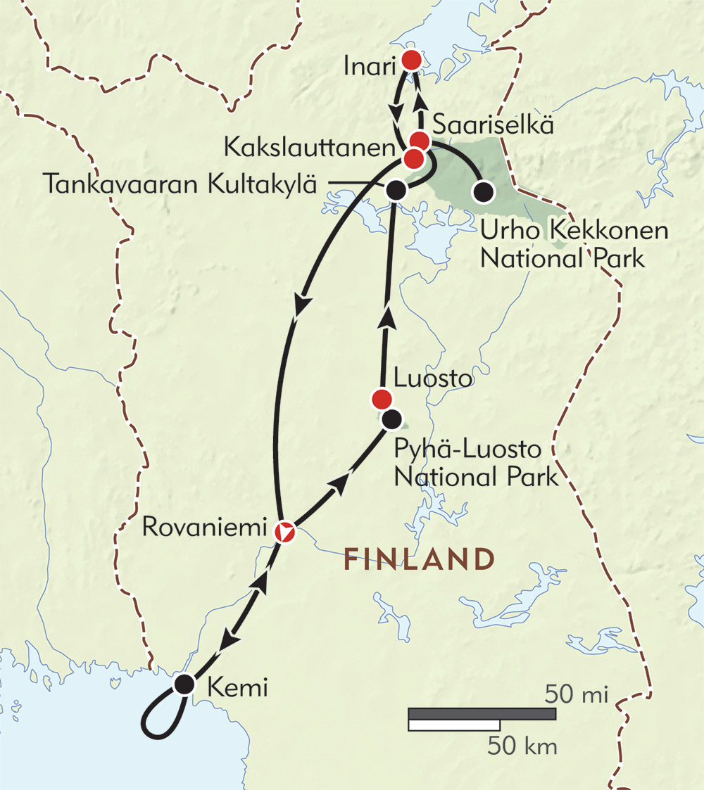 Expedition to Lapland Itinerary Map Wilderness Travel