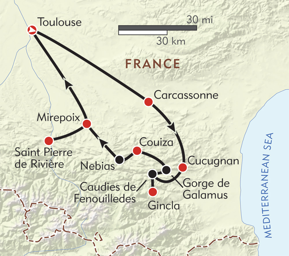 Hiking in the Land of the Cathars route-map