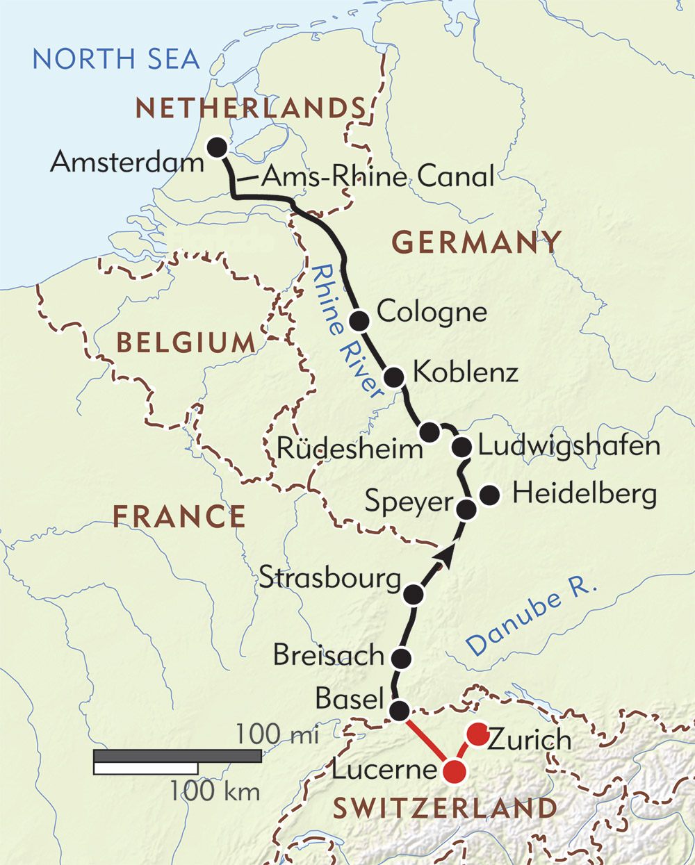 Map Of Rhine River 8 Day Rhine River Cruise | Basel to Amsterdam | Wilderness Travel