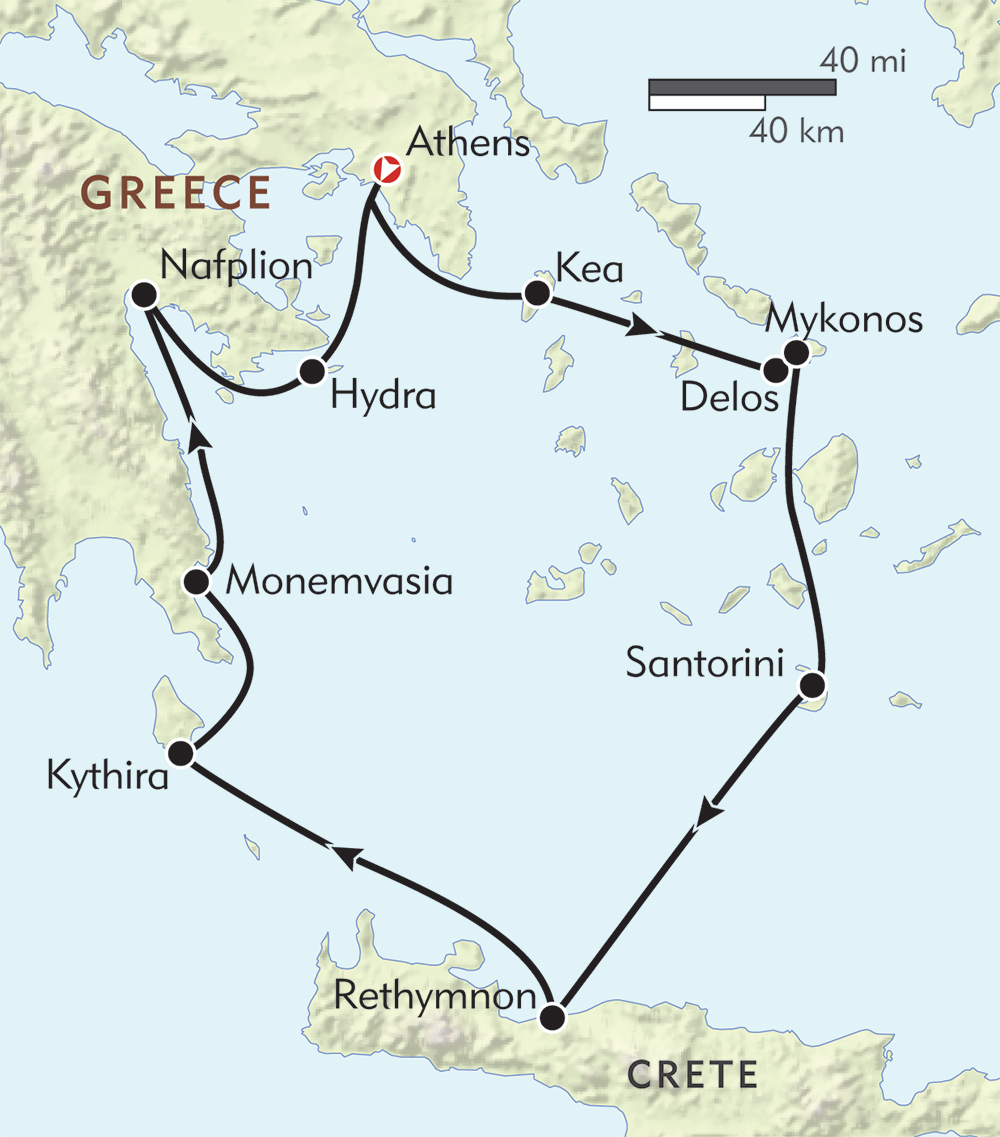 Classical Greece route-map