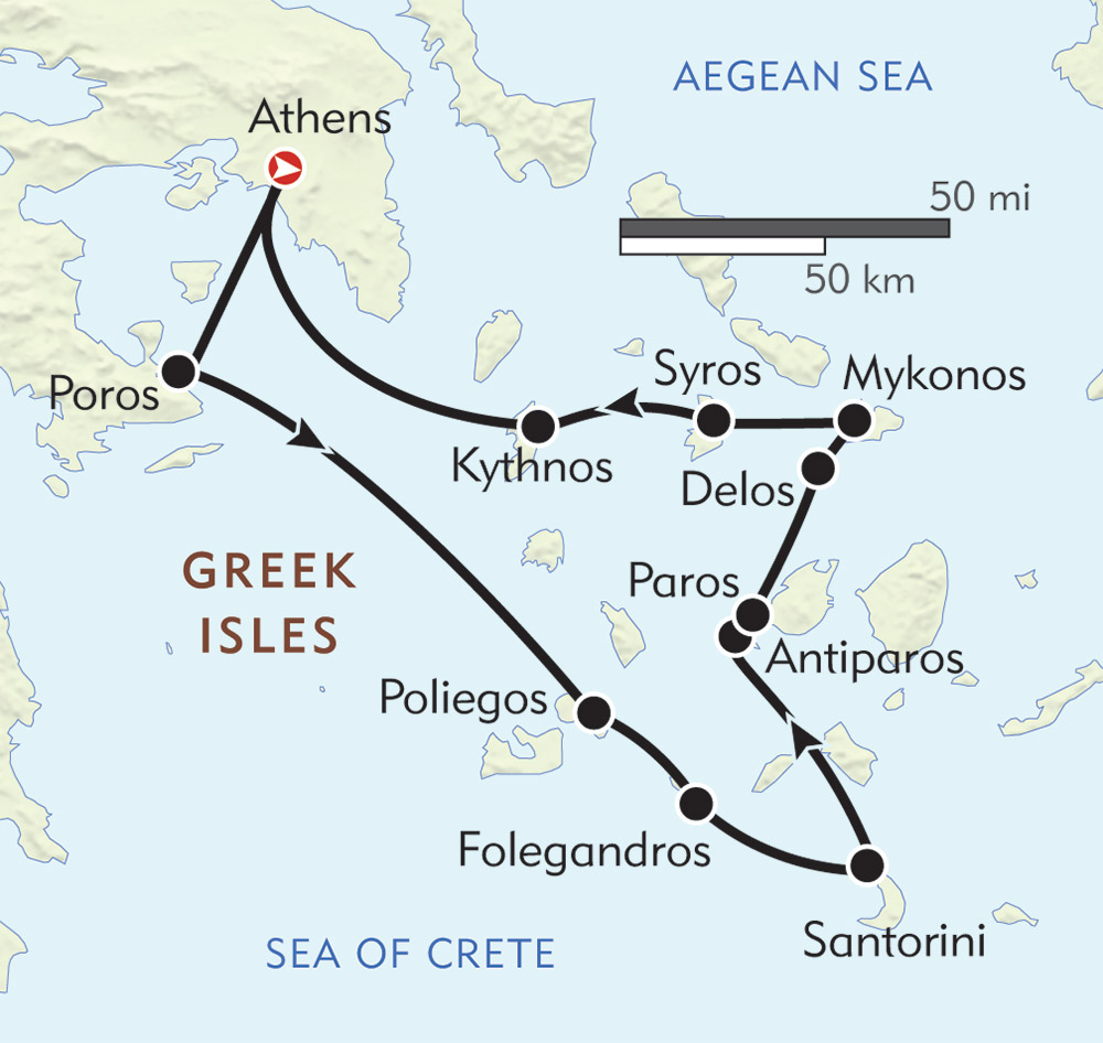 Jewels of the Cyclades route-map