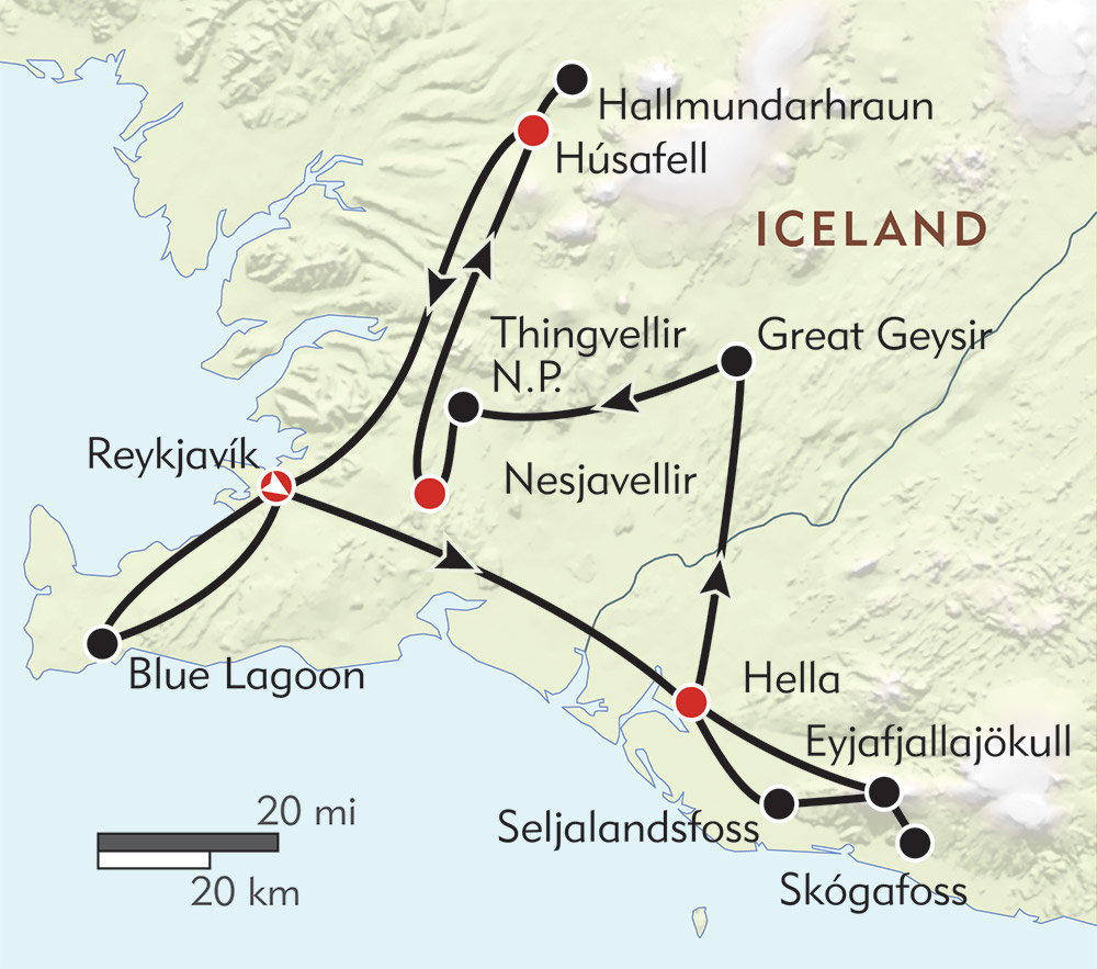 Iceland's Northern Lights route-map