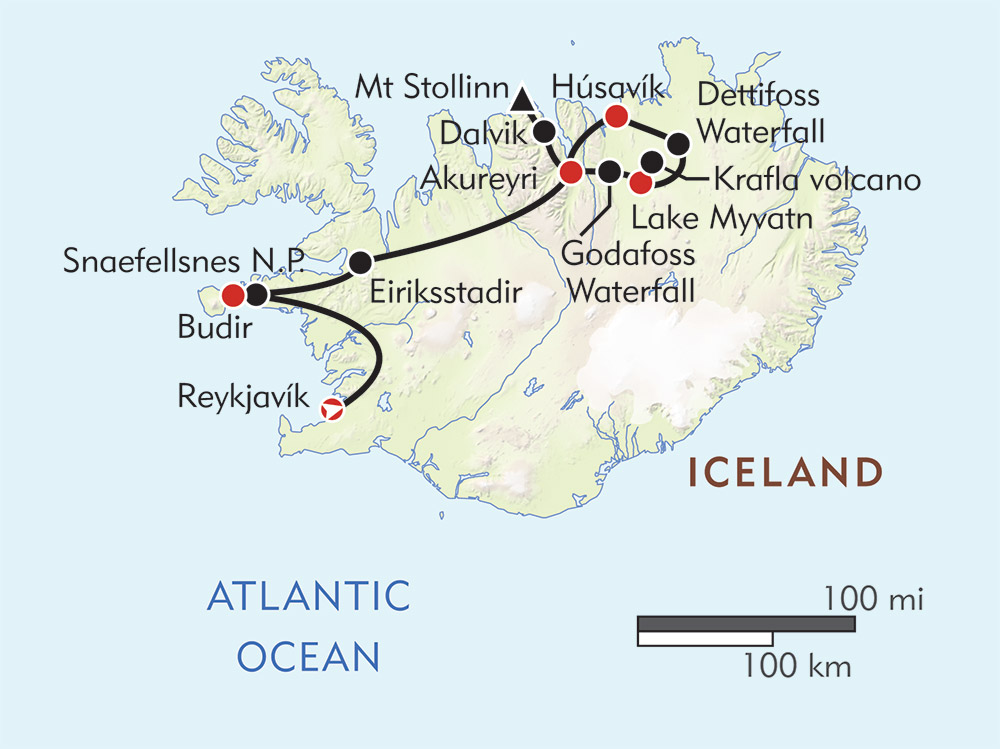 Wonders of Iceland route-map