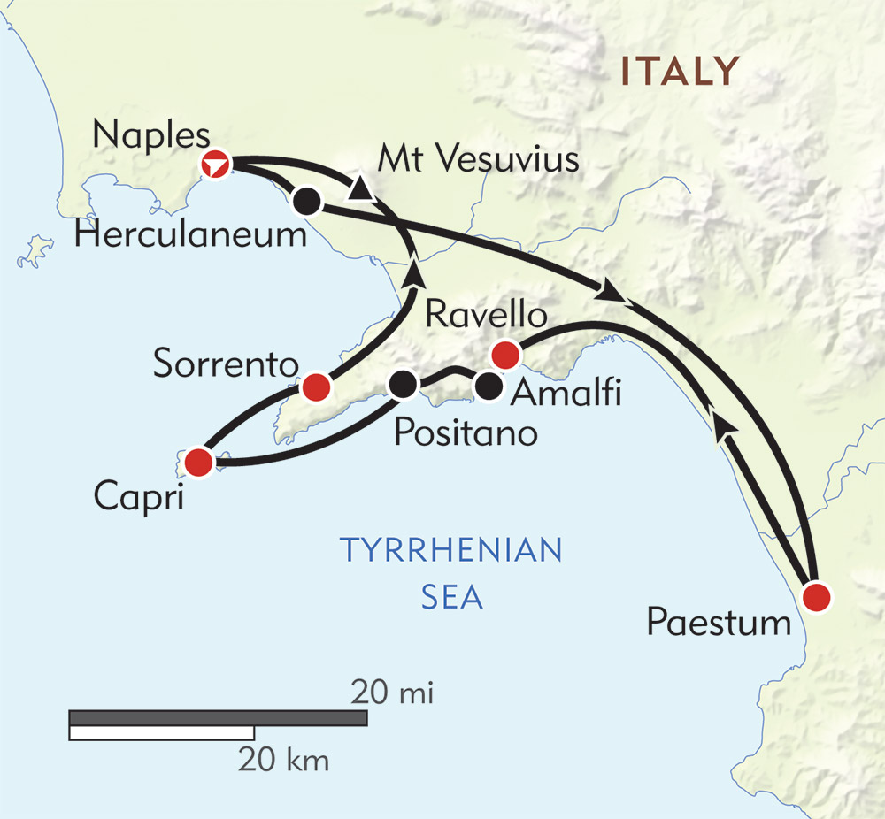 Amalfi and Capri route-map