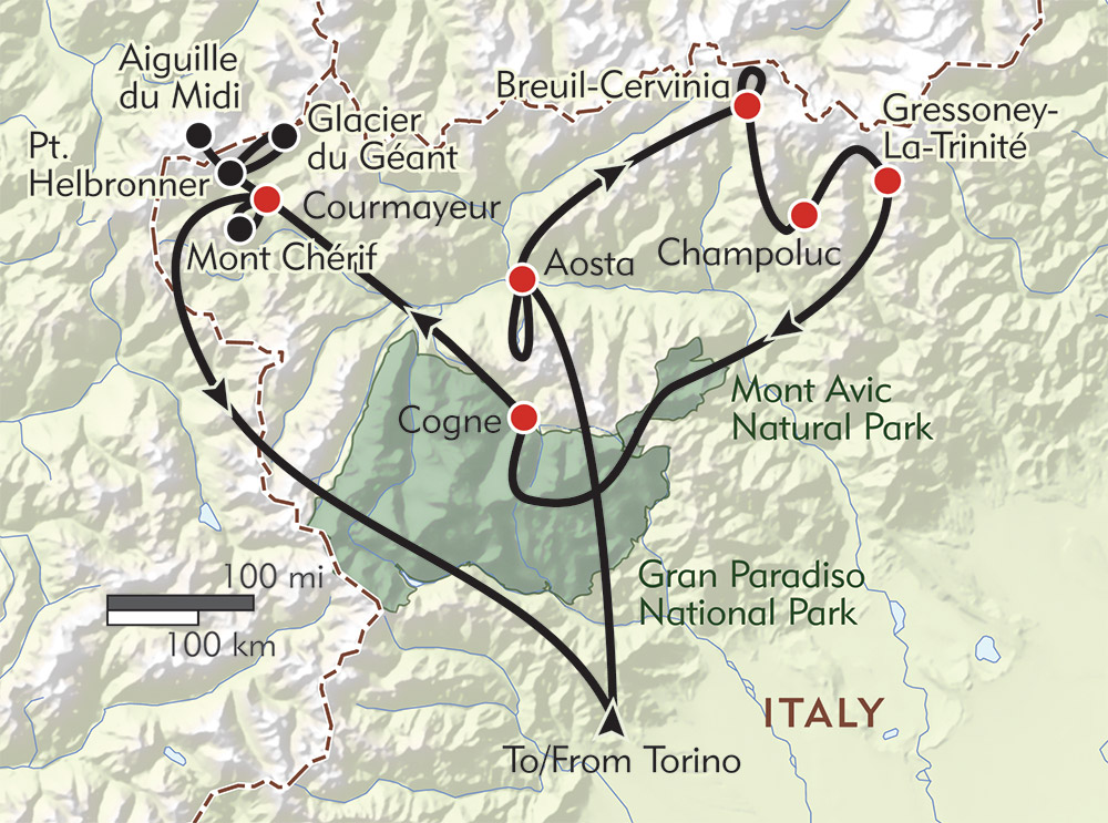 Italy: The Tour of the Giants route-map