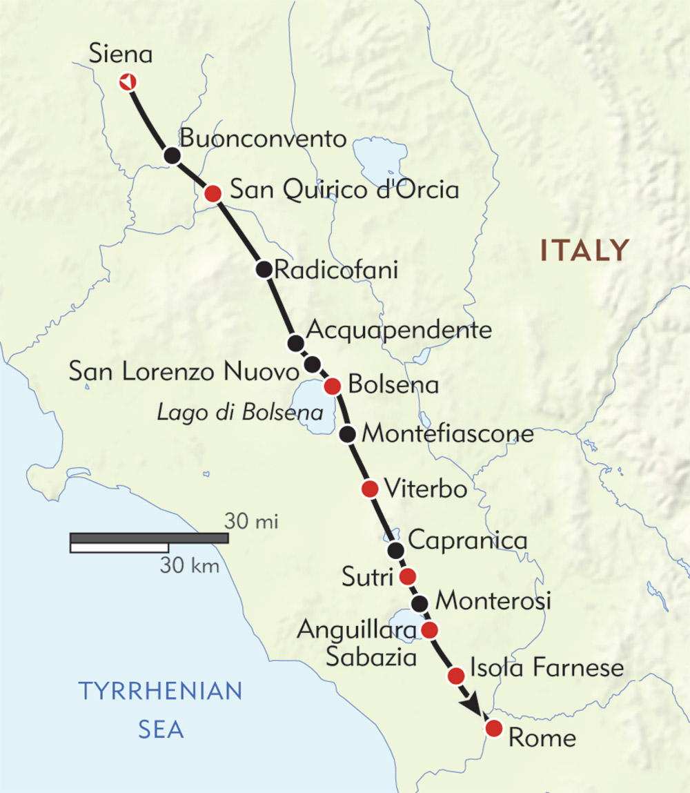 Italy's Pilgrim Trail route-map