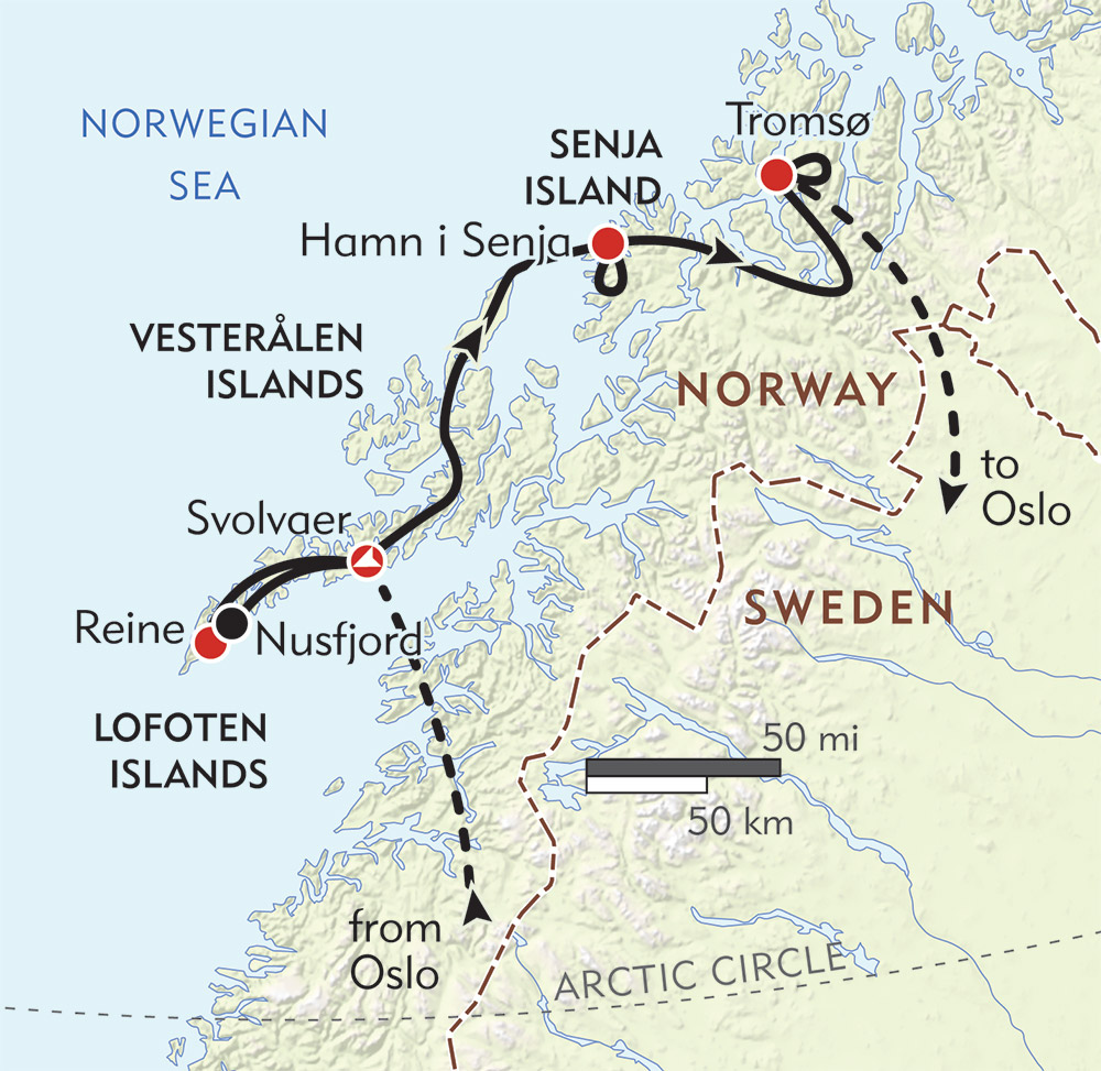 Hiking Above Norway's Arctic Circle route-map
