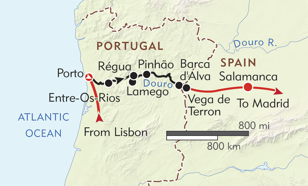 Flavors of Portugal and Spain route-map
