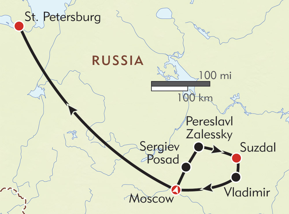 Russia Private Journey route-map