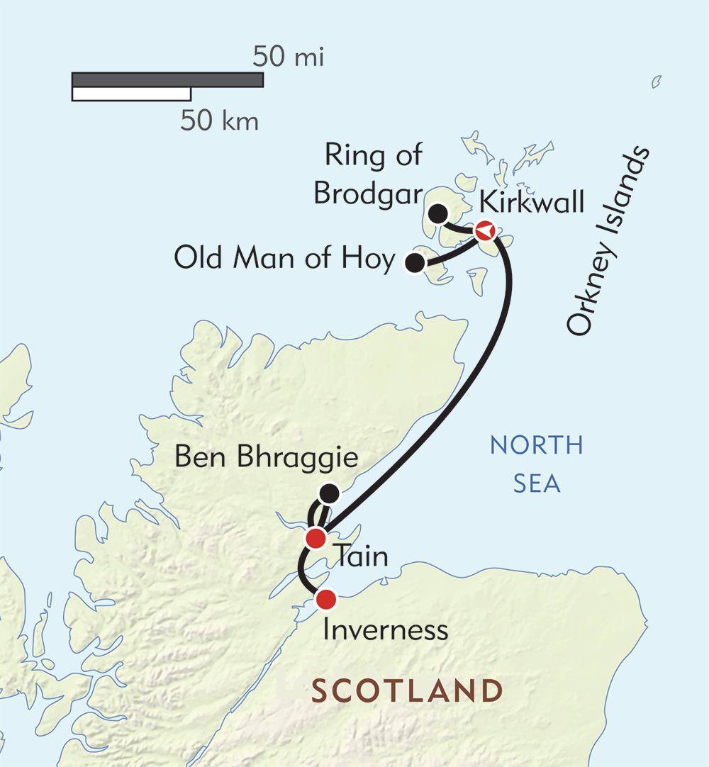 Scotland's Orkney Islands and Stunning Northern Coast route-map