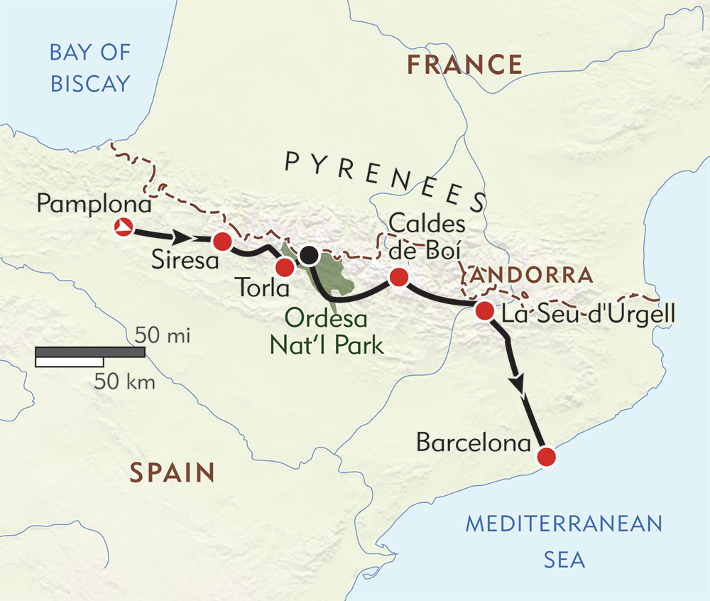 Across the Pyrenees route-map