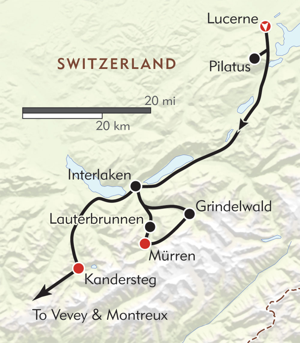 Heart of Switzerland route-map