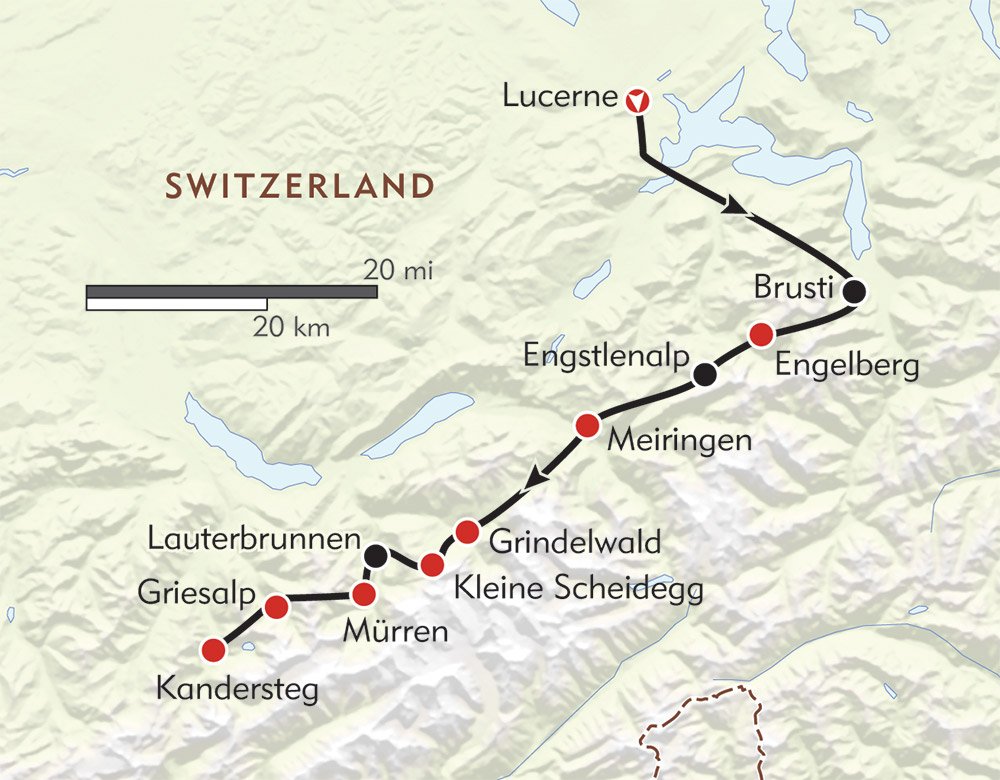 Top of the Alps route-map