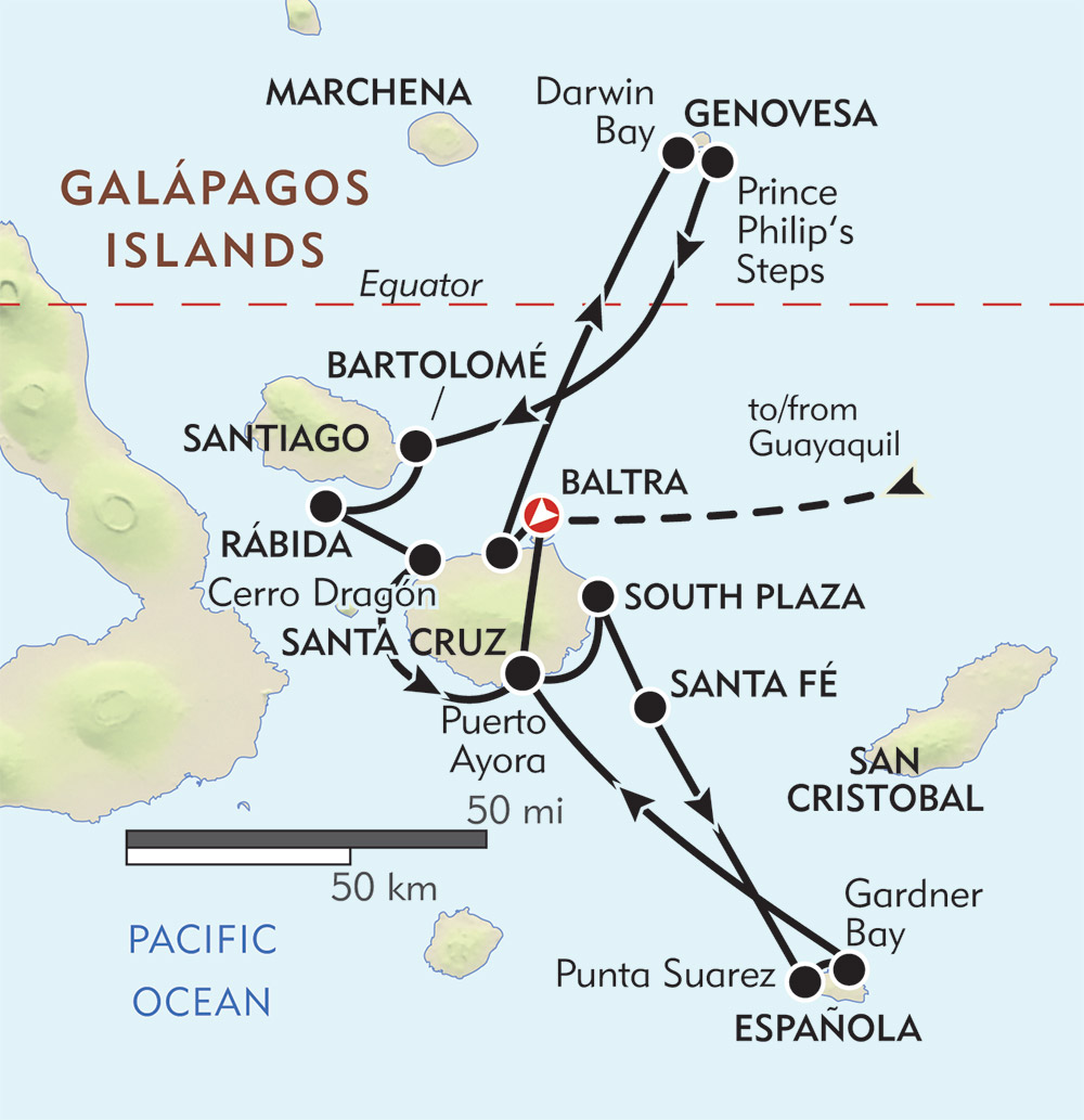 Galapagos Adventure route-map