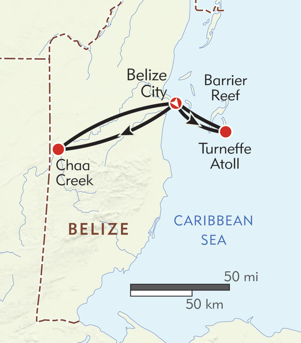 Belize Private Journey route-map