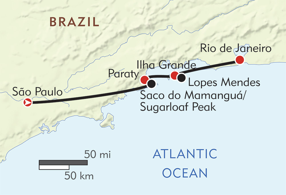 Coastal Brazil Private Journey route-map