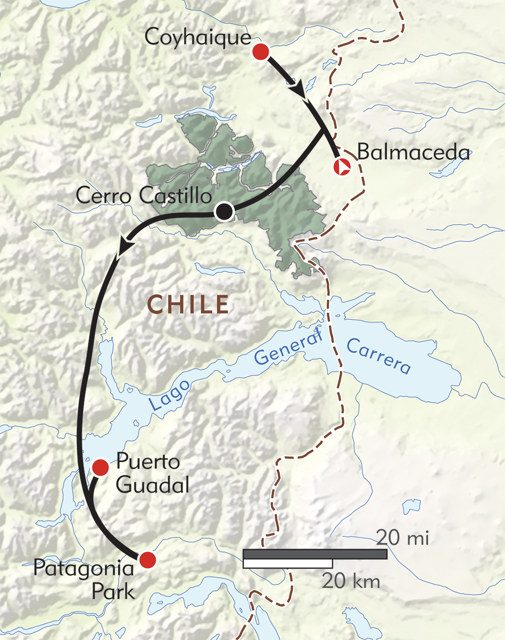 Patagonia's Wild North route-map