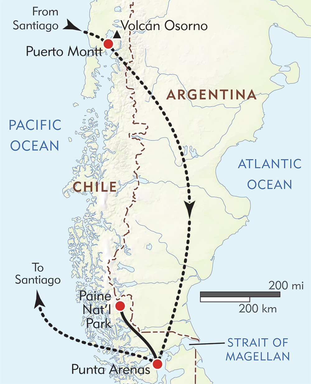 Chile Private Journey route-map