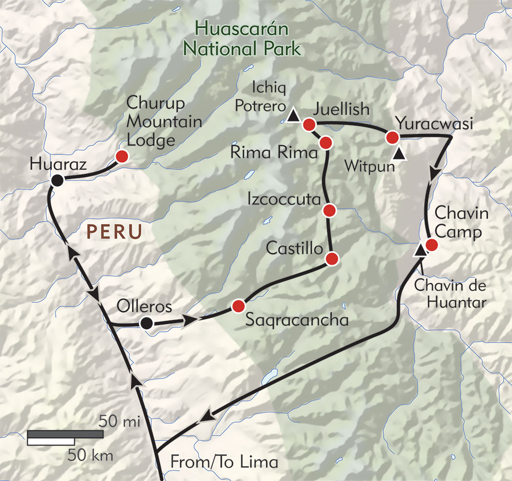 Mysteries of Chavin route-map