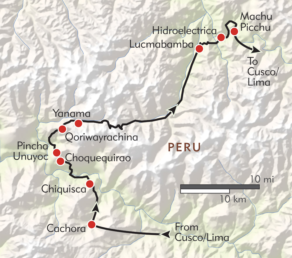 Choquequirao: Trek to the Cradle of Gold route-map