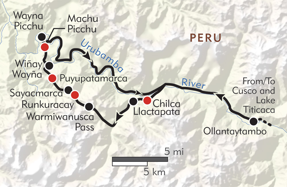 Inca Trail Private Journey route-map
